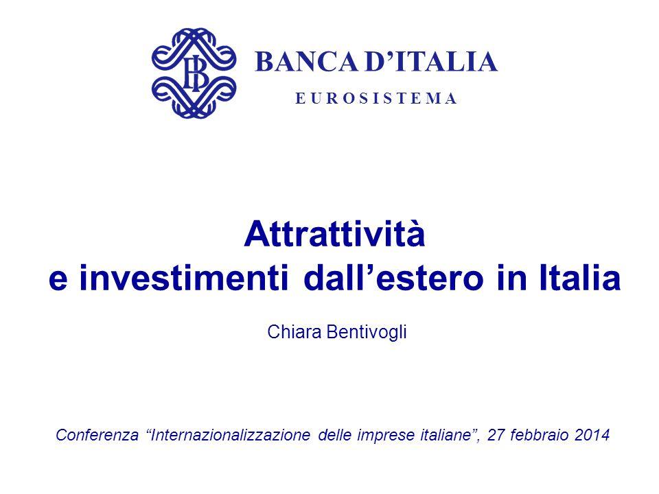 BANCA D'ITALIA E U R O S I S T E M A Attrattività e investimenti dall'estero in Italia Chiara Bentivogli Conferenza Internazionalizzazione delle imprese italiane , 27 febbraio 2014