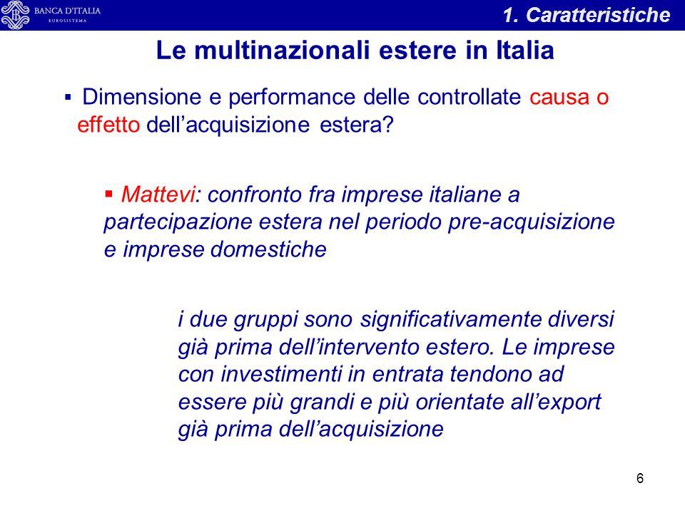 1. Caratteristiche Le multinazionali estere in Italia  Dimensione e performance delle controllate causa o effetto dell'acquisizione estera?  Mattevi