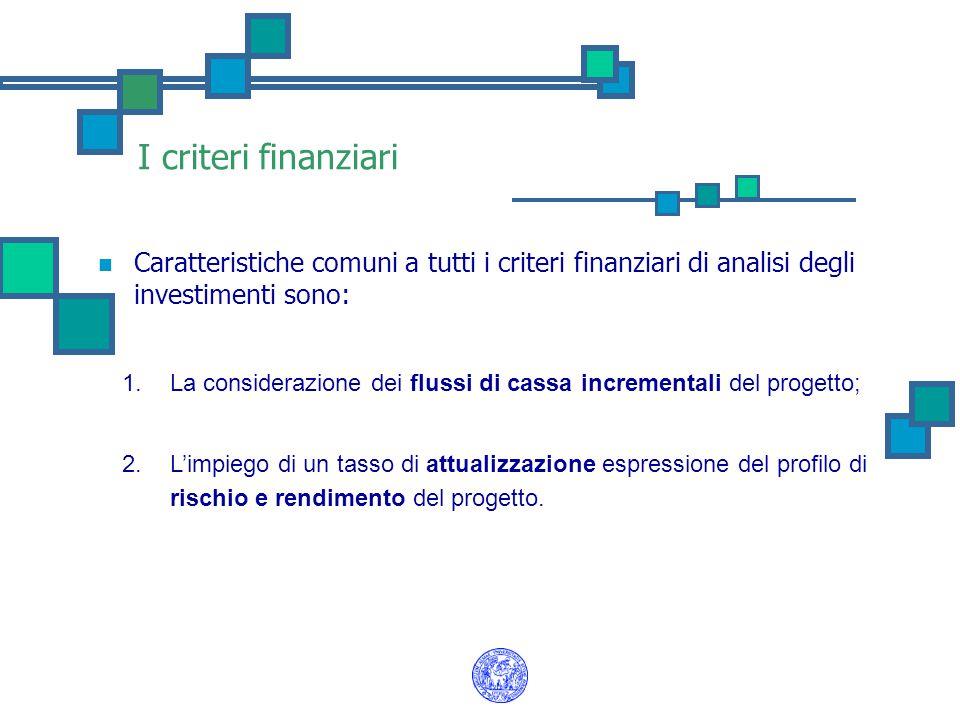 I criteri finanziari Caratteristiche comuni a tutti i criteri finanziari di analisi degli investimenti sono: 1.La considerazione dei flussi di cassa i