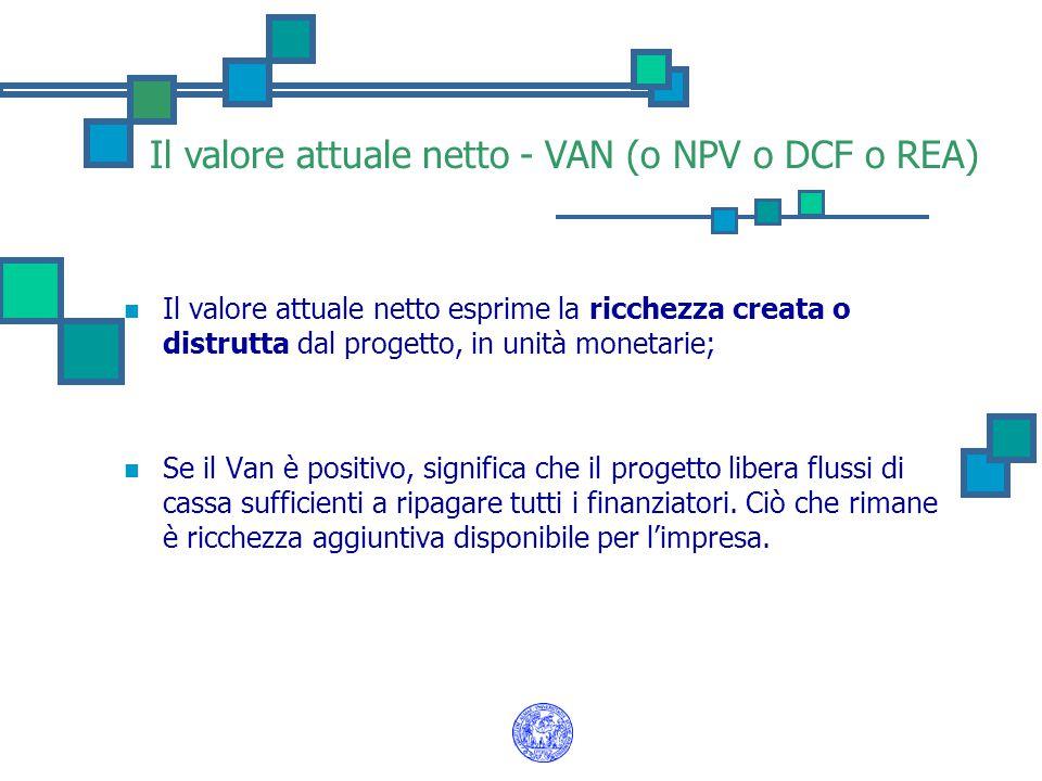 Il valore attuale netto - VAN (o NPV o DCF o REA) Il valore attuale netto esprime la ricchezza creata o distrutta dal progetto, in unità monetarie; Se