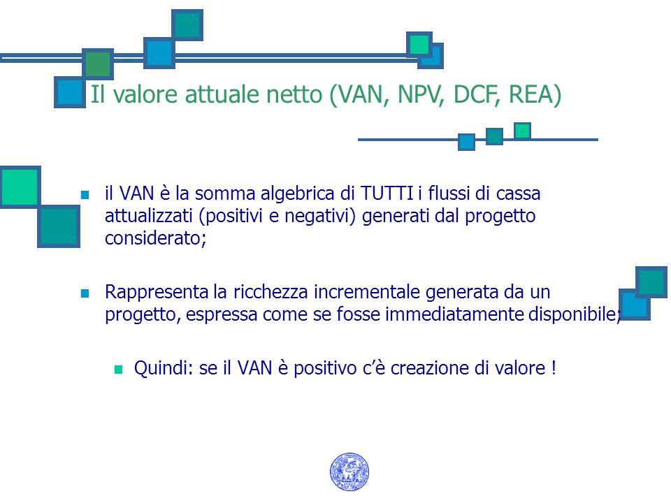 Il valore attuale netto (VAN, NPV, DCF, REA) il VAN è la somma algebrica di TUTTI i flussi di cassa attualizzati (positivi e negativi) generati dal pr