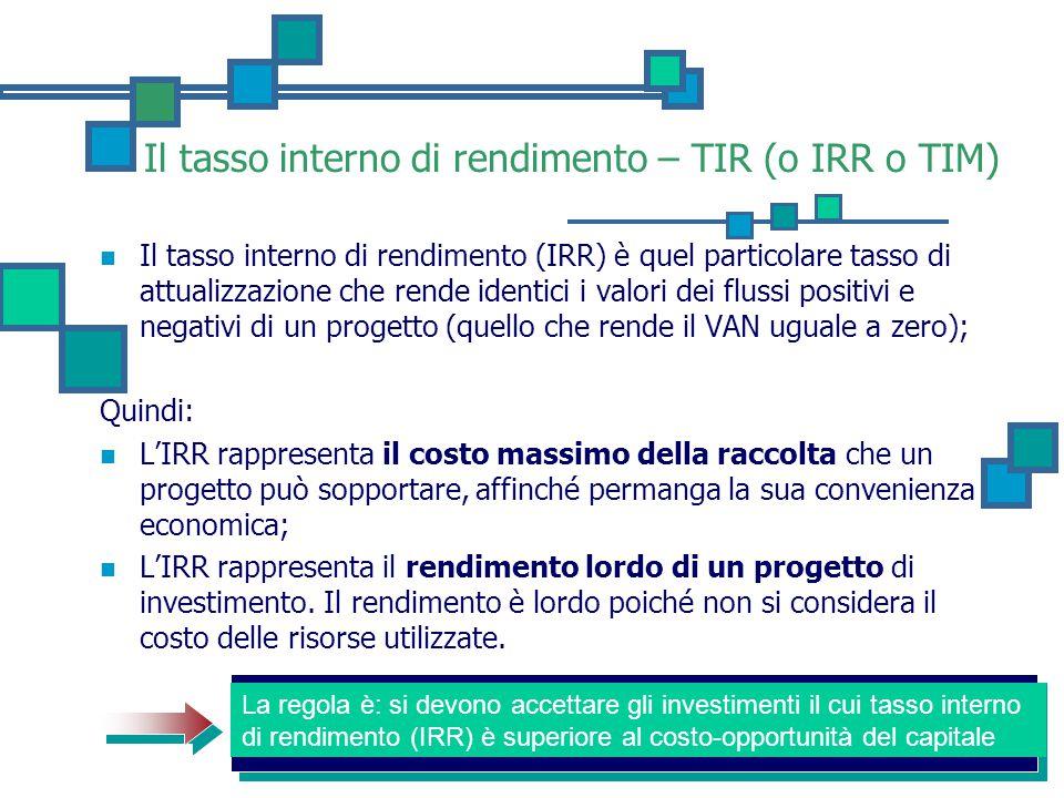 Il tasso interno di rendimento – TIR (o IRR o TIM) Il tasso interno di rendimento (IRR) è quel particolare tasso di attualizzazione che rende identici