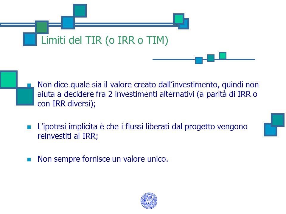 Limiti del TIR (o IRR o TIM) Non dice quale sia il valore creato dall'investimento, quindi non aiuta a decidere fra 2 investimenti alternativi (a pari
