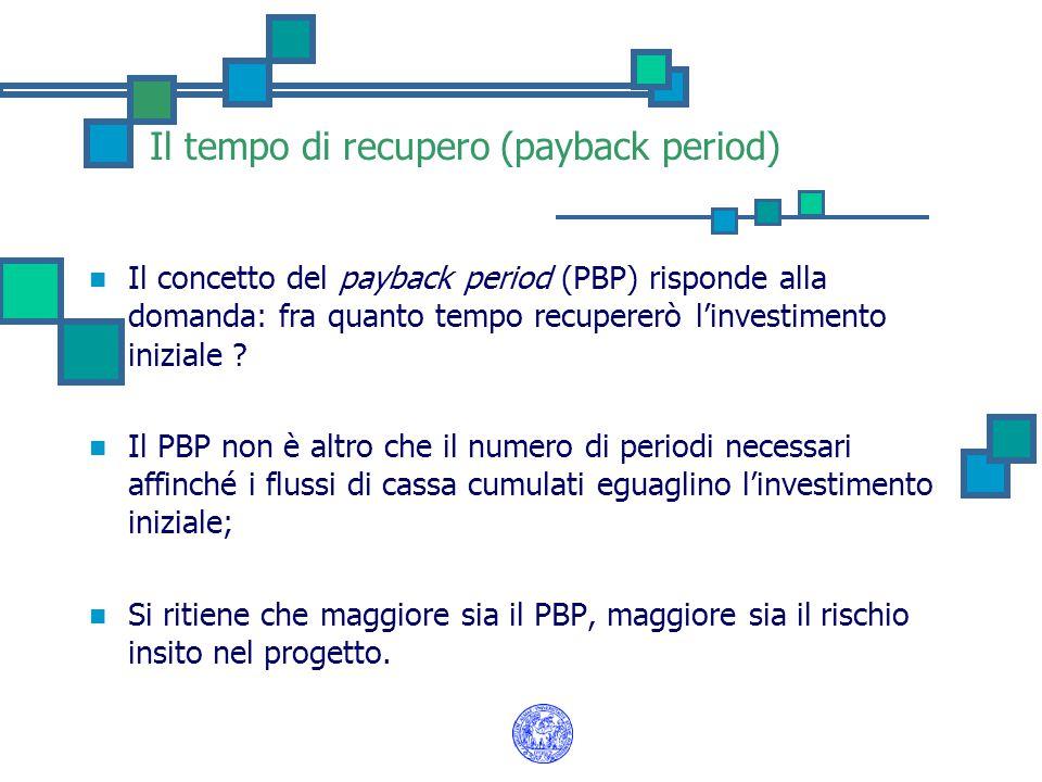 Il tempo di recupero (payback period) Il concetto del payback period (PBP) risponde alla domanda: fra quanto tempo recupererò l'investimento iniziale