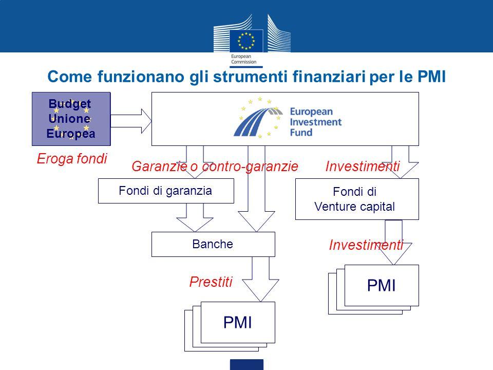 Competiveness & Innovation Framework Programme (CIP) oSMEG Linea di garanzie per le PMI =>Linea di garanzie sui prestiti A fine 2012 € piu di 220,000 PMI beneficiate oGIF Linea per le PMI High-Growth & Innovative => Linea di capitale di rischio A fine 2012 circa € 2,5 miliardi di investimenti VC mobilizzati per le PMI Risultati