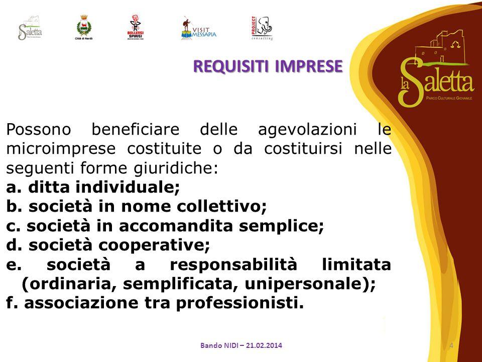 Possono beneficiare delle agevolazioni le microimprese costituite o da costituirsi nelle seguenti forme giuridiche: a.