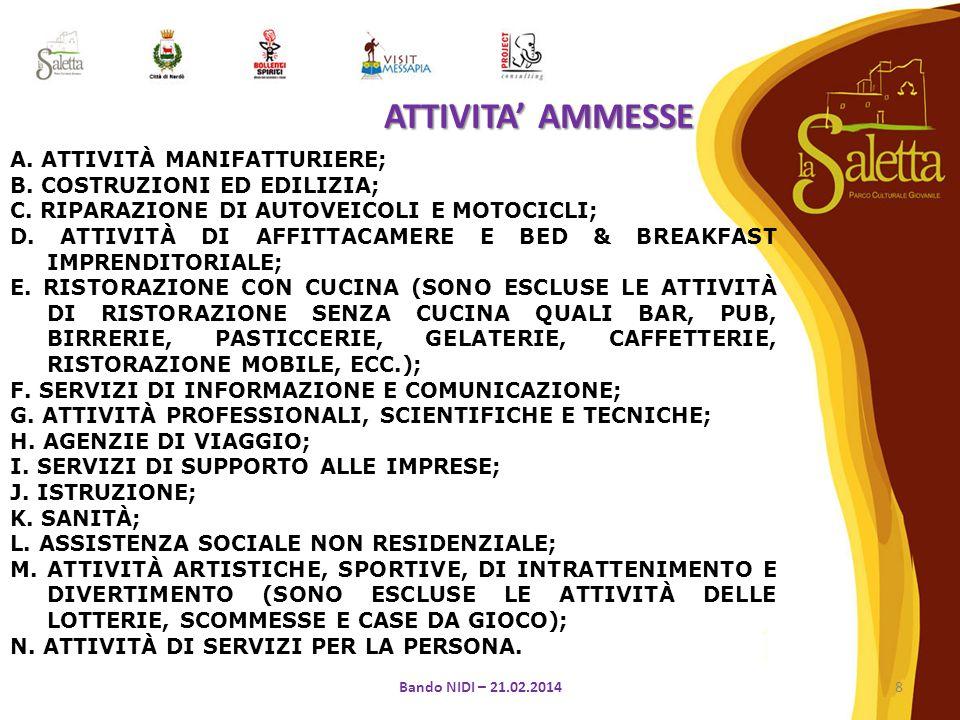A.ATTIVITÀ MANIFATTURIERE; B. COSTRUZIONI ED EDILIZIA; C.