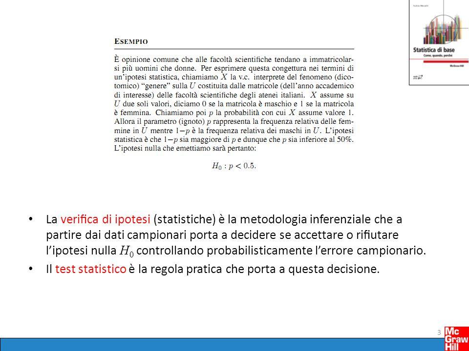Errore campionario Un test statistico, cioè la regola che porta ad accettare o rifiutare H 0, è basato sui dati campionari, cioè su una osservazione parziale dell'intera U di riferimento.