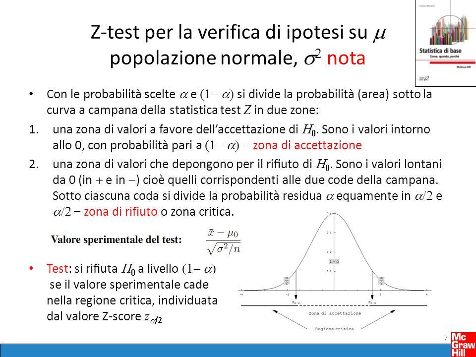 Z-test per la verifica di ipotesi su  popolazione normale,   nota Con le probabilità scelte  e  si divide la probabilità (area) sotto la cur
