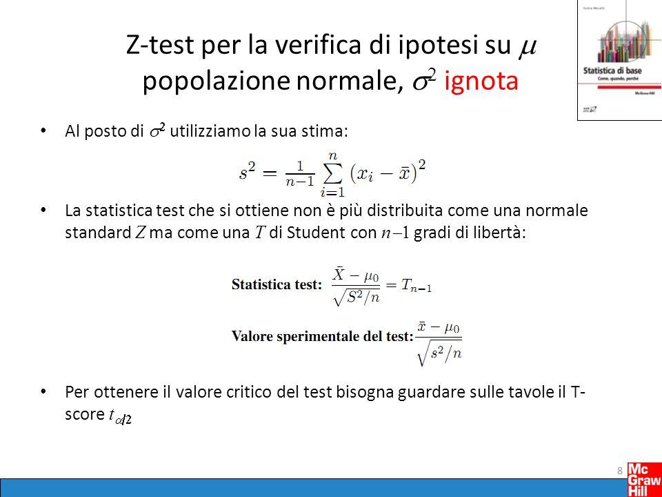 Z-test per la verifica di ipotesi su  popolazione normale,   ignota Al posto di   utilizziamo la sua stima: La statistica test che si ottiene non