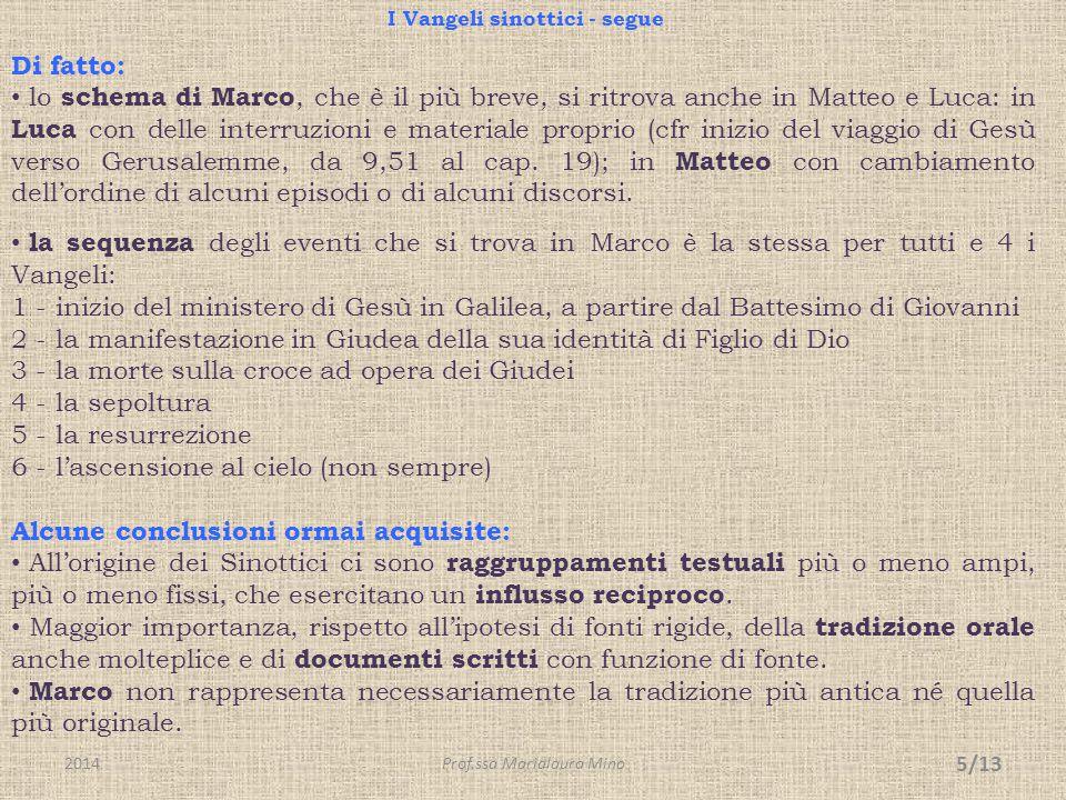 I Vangeli sinottici - segue Di fatto: lo schema di Marco, che è il più breve, si ritrova anche in Matteo e Luca: in Luca con delle interruzioni e mate