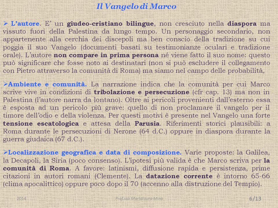 Il Vangelo di Marco - segue  La struttura.