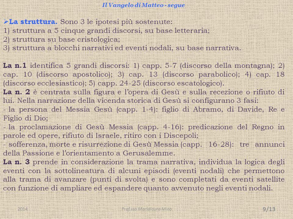 Il Vangelo di Matteo - segue  La struttura. Sono 3 le ipotesi più sostenute: 1) struttura a 5 cinque grandi discorsi, su base letteraria; 2) struttur