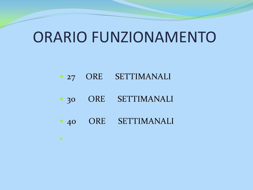 ORARIO FUNZIONAMENTO 27 ORE SETTIMANALI 30 ORE SETTIMANALI 40 ORE SETTIMANALI