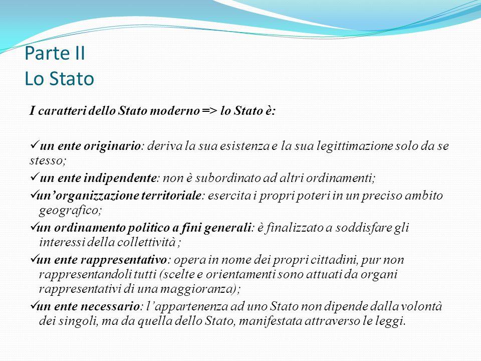 Parte II Lo Stato I caratteri dello Stato moderno => lo Stato è: un ente originario: deriva la sua esistenza e la sua legittimazione solo da se stesso