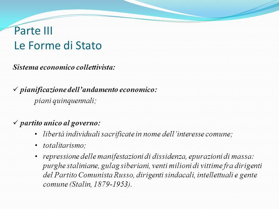 Parte III Le Forme di Stato Sistema economico collettivista: pianificazione dell'andamento economico: piani quinquennali; partito unico al governo: li