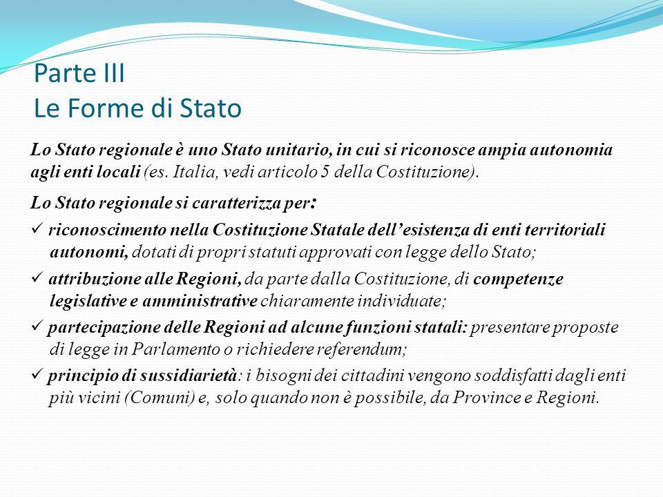 Parte III Le Forme di Stato Lo Stato regionale è uno Stato unitario, in cui si riconosce ampia autonomia agli enti locali (es. Italia, vedi articolo 5
