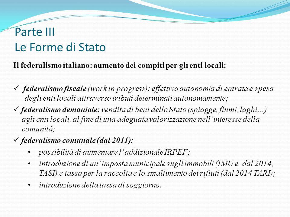 Parte III Le Forme di Stato Il federalismo italiano: aumento dei compiti per gli enti locali: federalismo fiscale (work in progress): effettiva autono