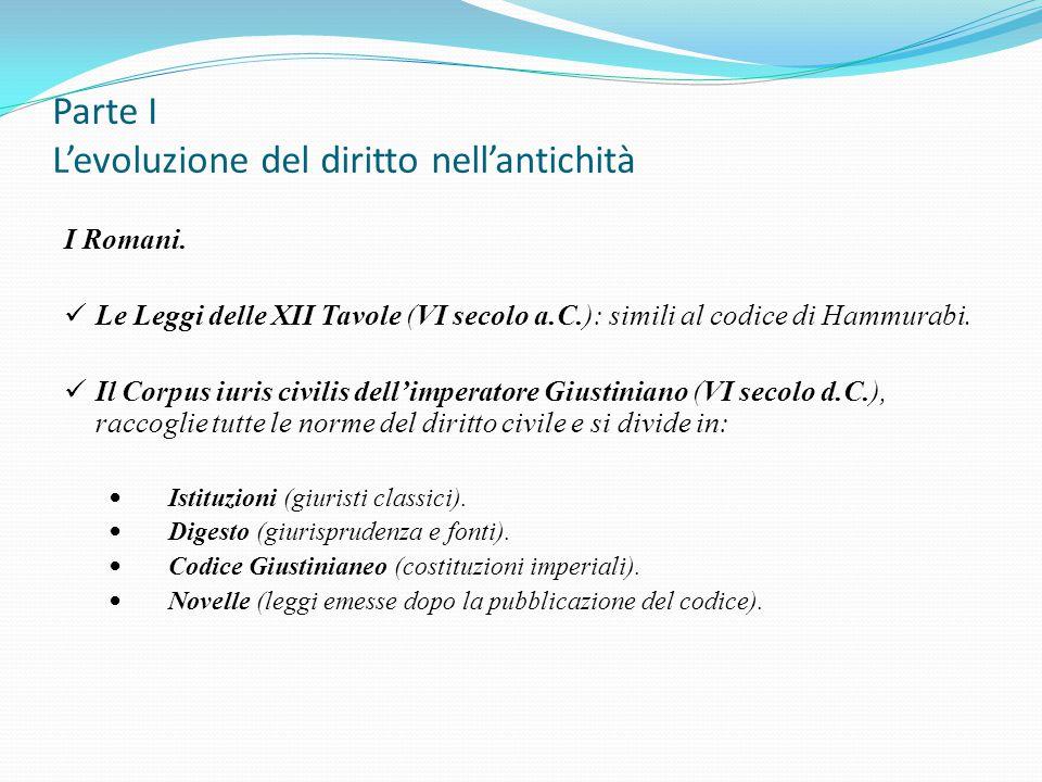 Parte I L'evoluzione del diritto nell'antichità I Romani. Le Leggi delle XII Tavole (VI secolo a.C.): simili al codice di Hammurabi. Il Corpus iuris c