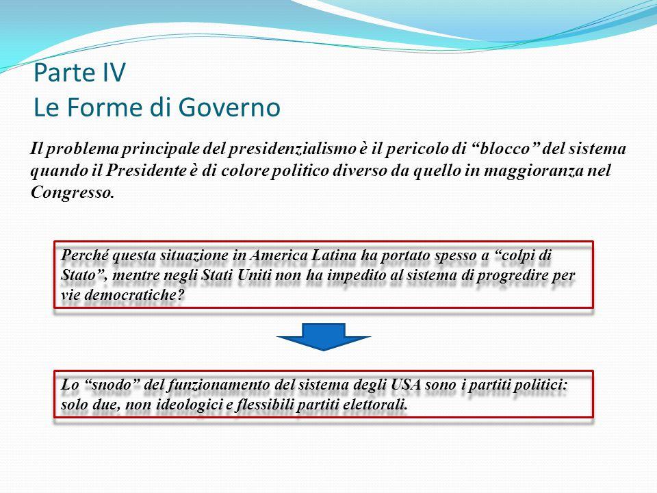 """Parte IV Le Forme di Governo Il problema principale del presidenzialismo è il pericolo di """"blocco"""" del sistema quando il Presidente è di colore politi"""
