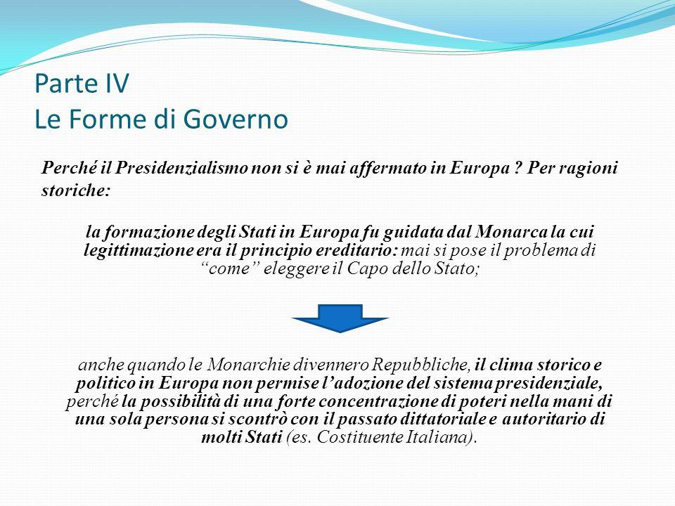 Parte IV Le Forme di Governo Perché il Presidenzialismo non si è mai affermato in Europa ? Per ragioni storiche: la formazione degli Stati in Europa f