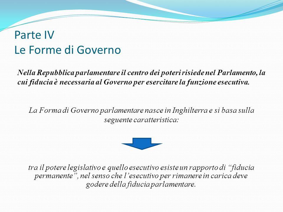 Parte IV Le Forme di Governo Nella Repubblica parlamentare il centro dei poteri risiede nel Parlamento, la cui fiducia è necessaria al Governo per ese