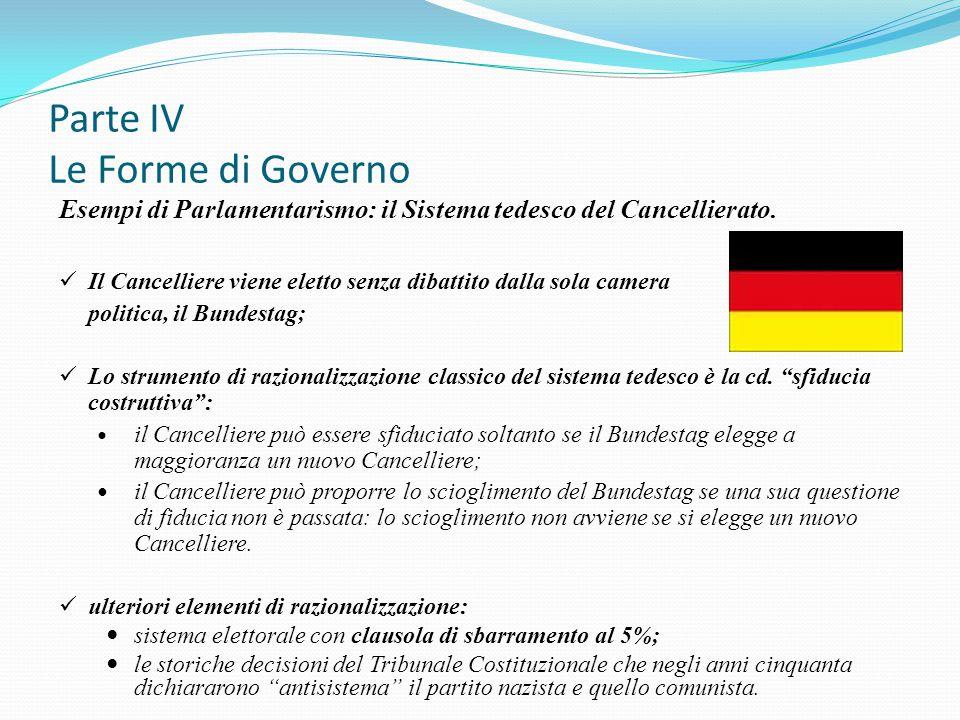 Parte IV Le Forme di Governo Esempi di Parlamentarismo: il Sistema tedesco del Cancellierato. Il Cancelliere viene eletto senza dibattito dalla sola c