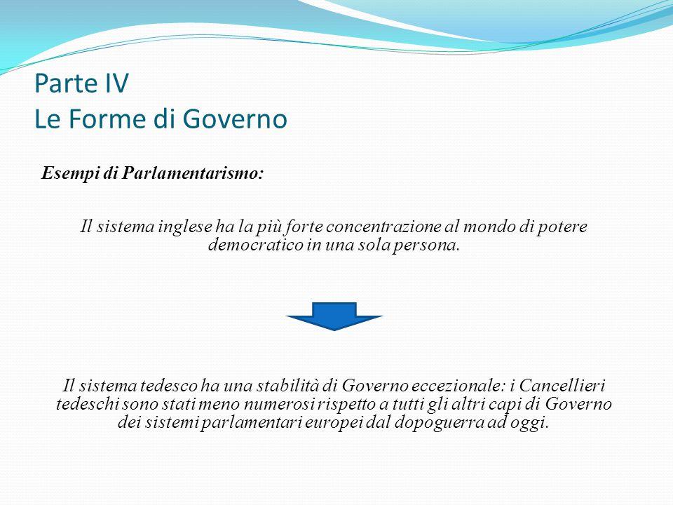 Parte IV Le Forme di Governo Esempi di Parlamentarismo: Il sistema inglese ha la più forte concentrazione al mondo di potere democratico in una sola p