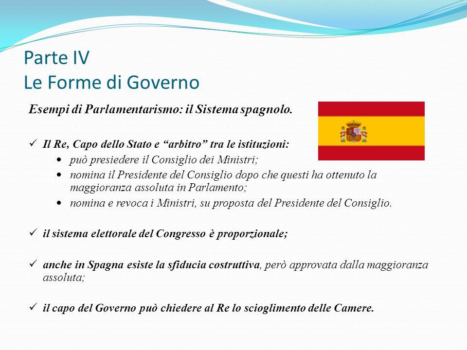 """Parte IV Le Forme di Governo Esempi di Parlamentarismo: il Sistema spagnolo. Il Re, Capo dello Stato e """"arbitro"""" tra le istituzioni: può presiedere il"""