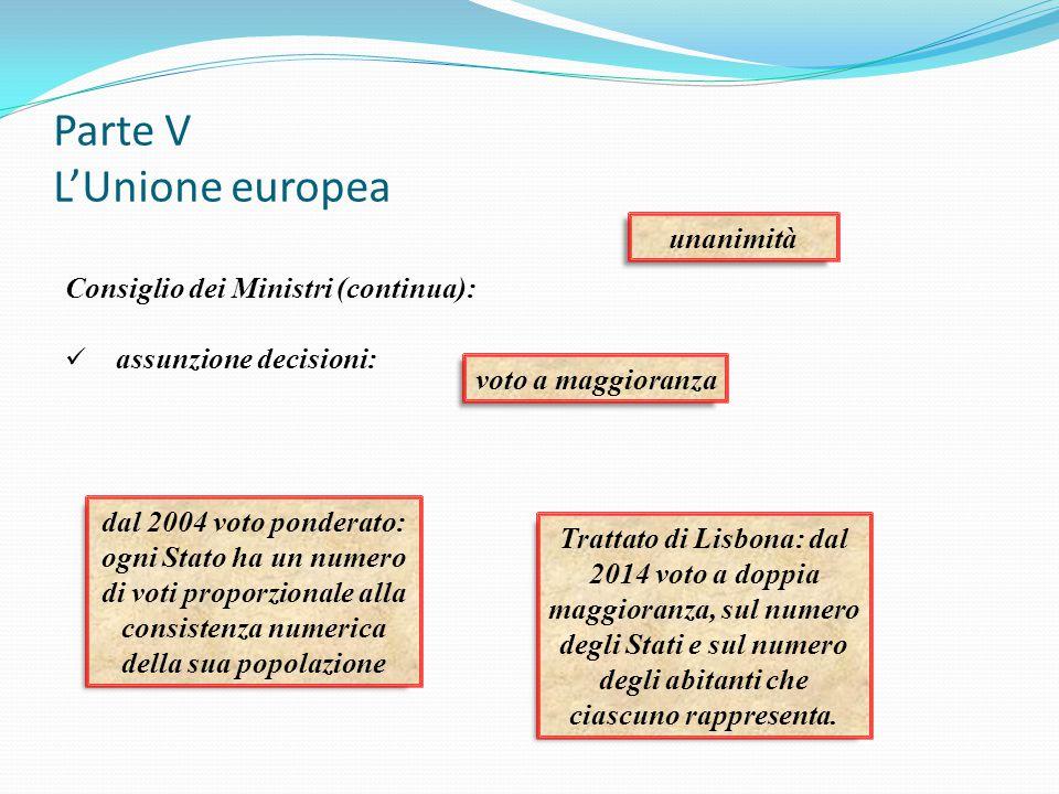 Parte V L'Unione europea Consiglio dei Ministri (continua): assunzione decisioni: unanimità voto a maggioranza dal 2004 voto ponderato: ogni Stato ha