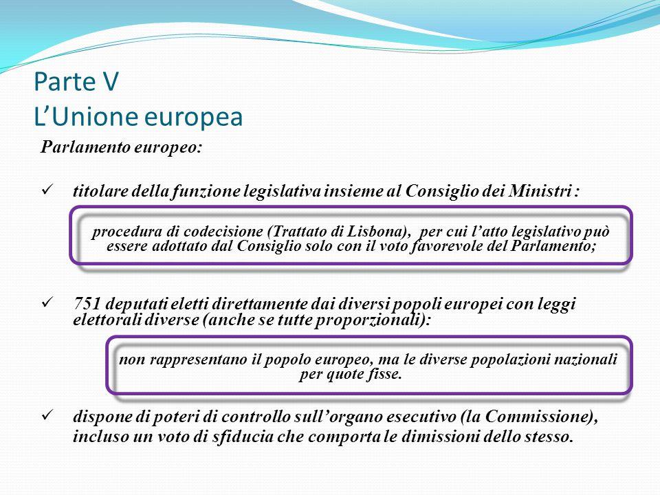 Parte V L'Unione europea Parlamento europeo: titolare della funzione legislativa insieme al Consiglio dei Ministri : procedura di codecisione (Trattat