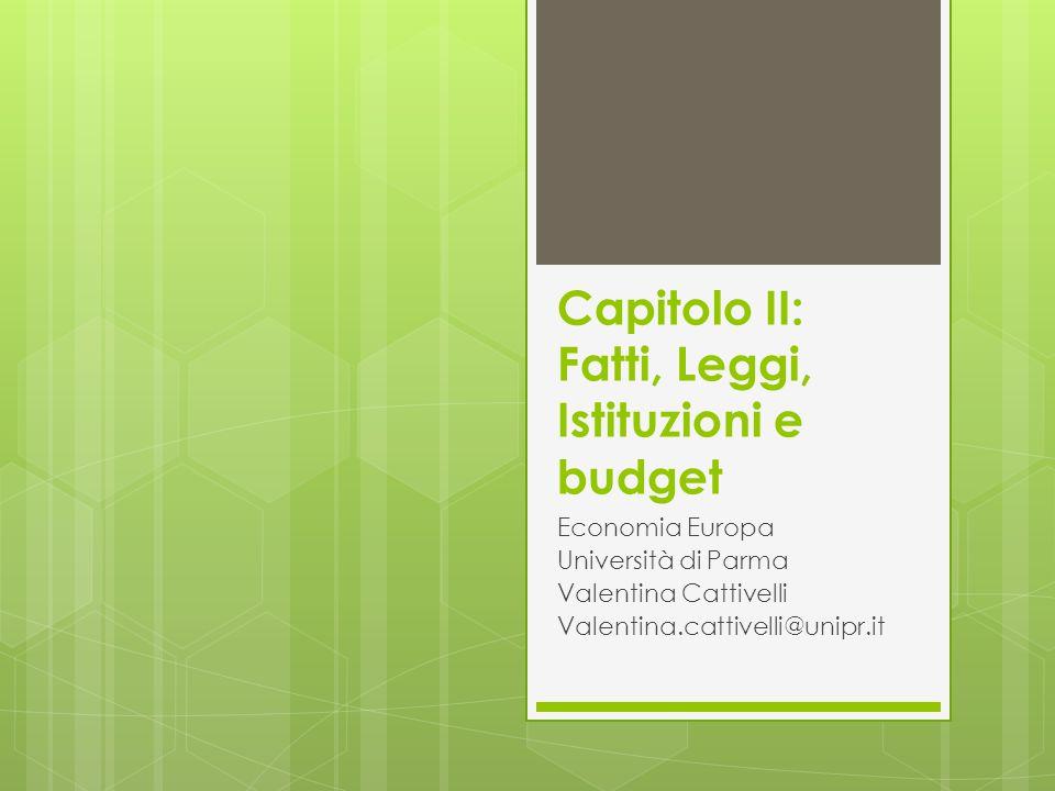 Capitolo II: Fatti, Leggi, Istituzioni e budget Economia Europa Università di Parma Valentina Cattivelli Valentina.cattivelli@unipr.it