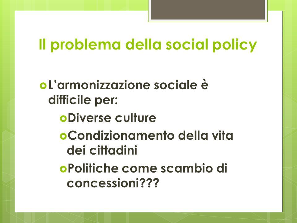 Il problema della social policy  L'armonizzazione sociale è difficile per:  Diverse culture  Condizionamento della vita dei cittadini  Politiche come scambio di concessioni