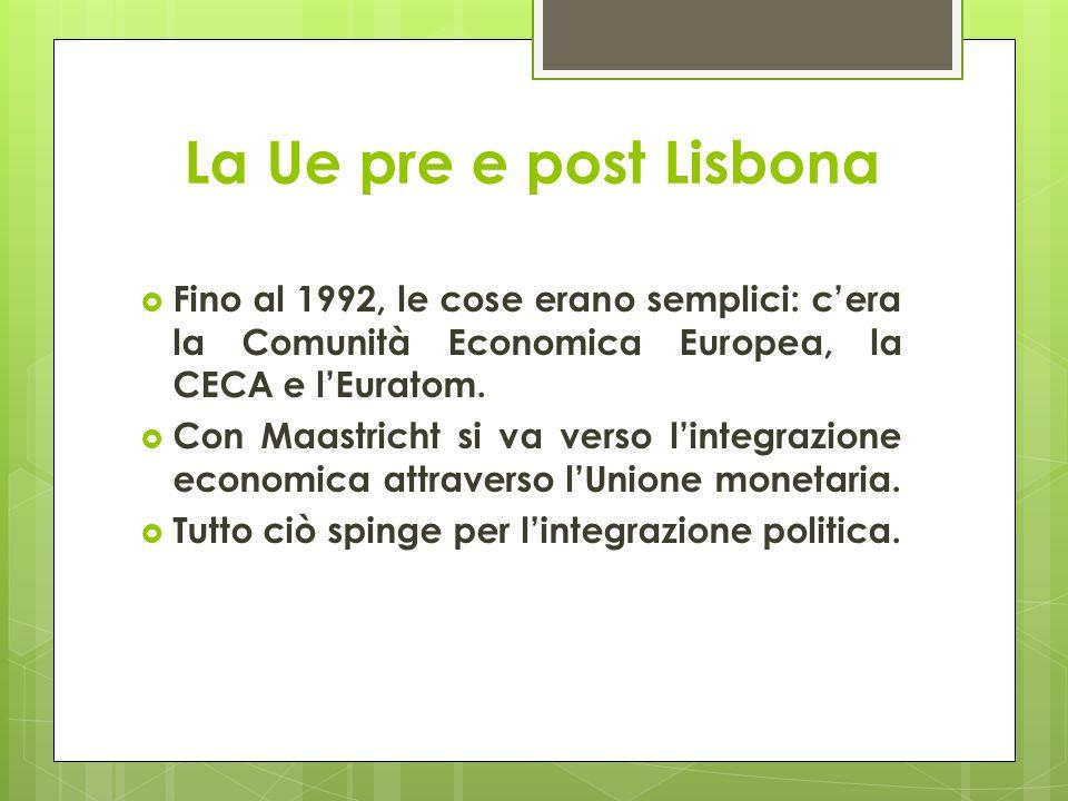 La Ue pre e post Lisbona  Fino al 1992, le cose erano semplici: c'era la Comunità Economica Europea, la CECA e l'Euratom.  Con Maastricht si va vers