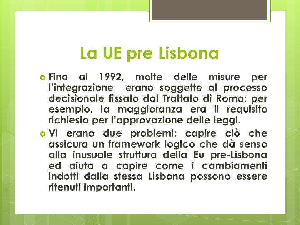 La UE pre Lisbona  Fino al 1992, molte delle misure per l'integrazione erano soggette al processo decisionale fissato dal Trattato di Roma: per esemp