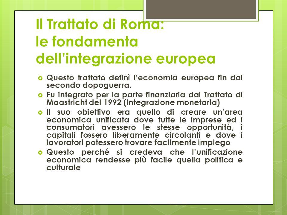 Il Trattato di Roma: le fondamenta dell'integrazione europea  Questo trattato definì l'economia europea fin dal secondo dopoguerra.