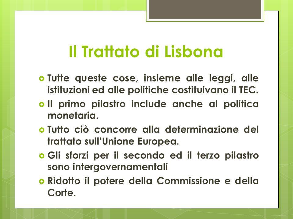 Il Trattato di Lisbona  Tutte queste cose, insieme alle leggi, alle istituzioni ed alle politiche costituivano il TEC.  Il primo pilastro include an