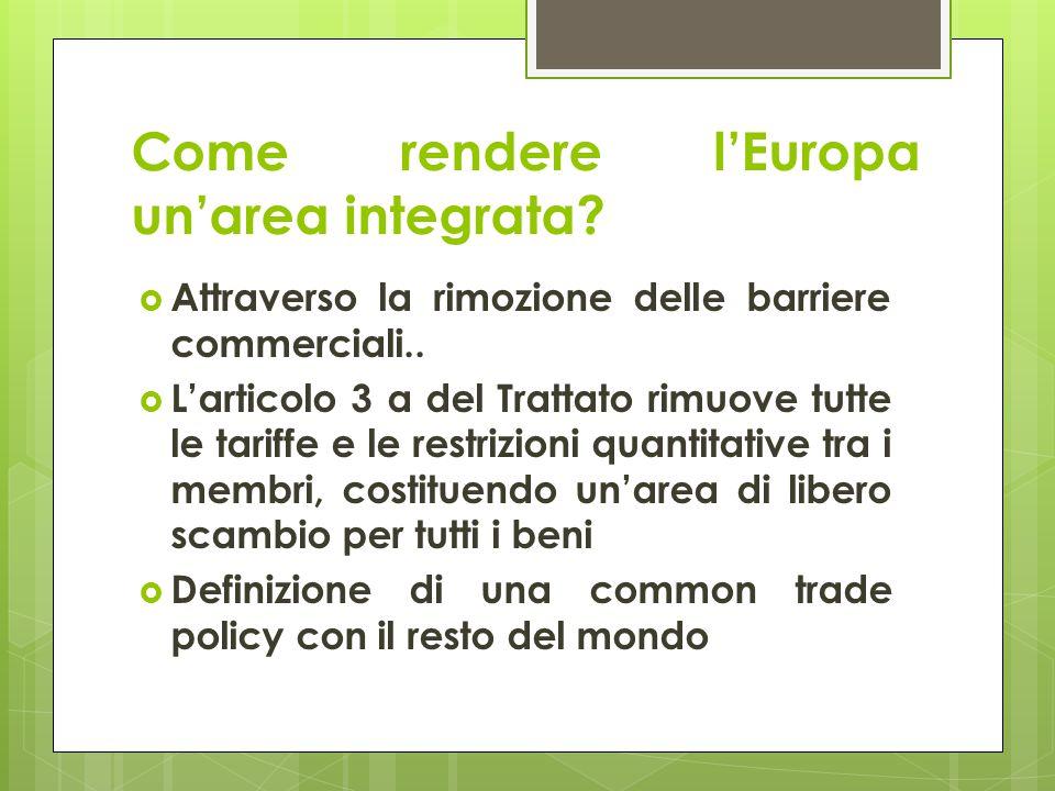 Come rendere l'Europa un'area integrata?  Attraverso la rimozione delle barriere commerciali..  L'articolo 3 a del Trattato rimuove tutte le tariffe