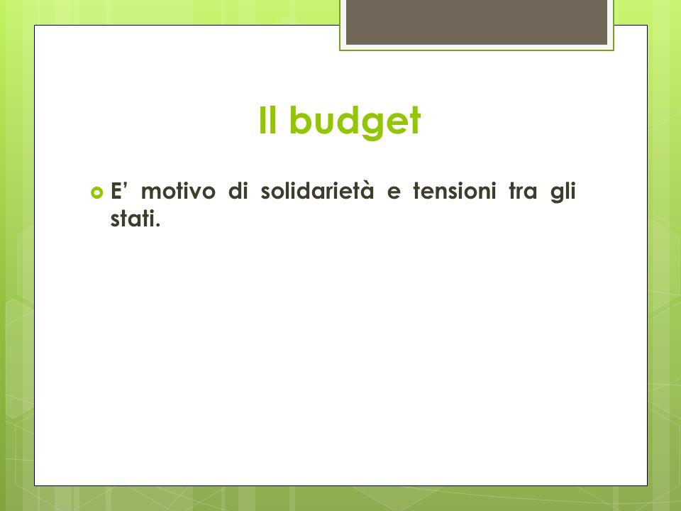 Il budget  E' motivo di solidarietà e tensioni tra gli stati.