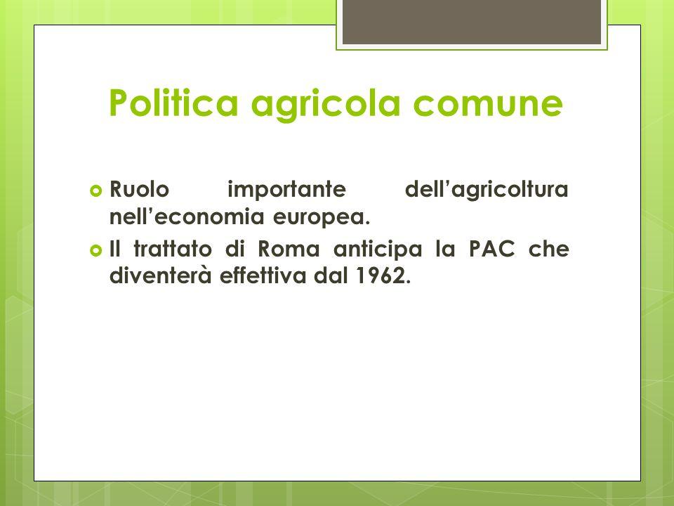 Politica agricola comune  Ruolo importante dell'agricoltura nell'economia europea.  Il trattato di Roma anticipa la PAC che diventerà effettiva dal