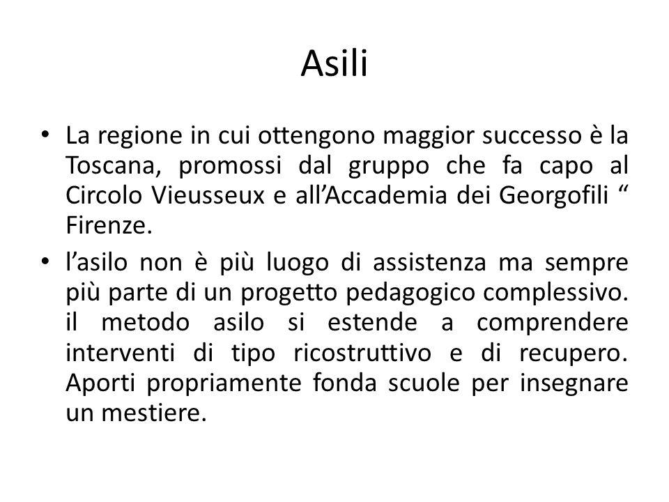 """Asili La regione in cui ottengono maggior successo è la Toscana, promossi dal gruppo che fa capo al Circolo Vieusseux e all'Accademia dei Georgofili """""""