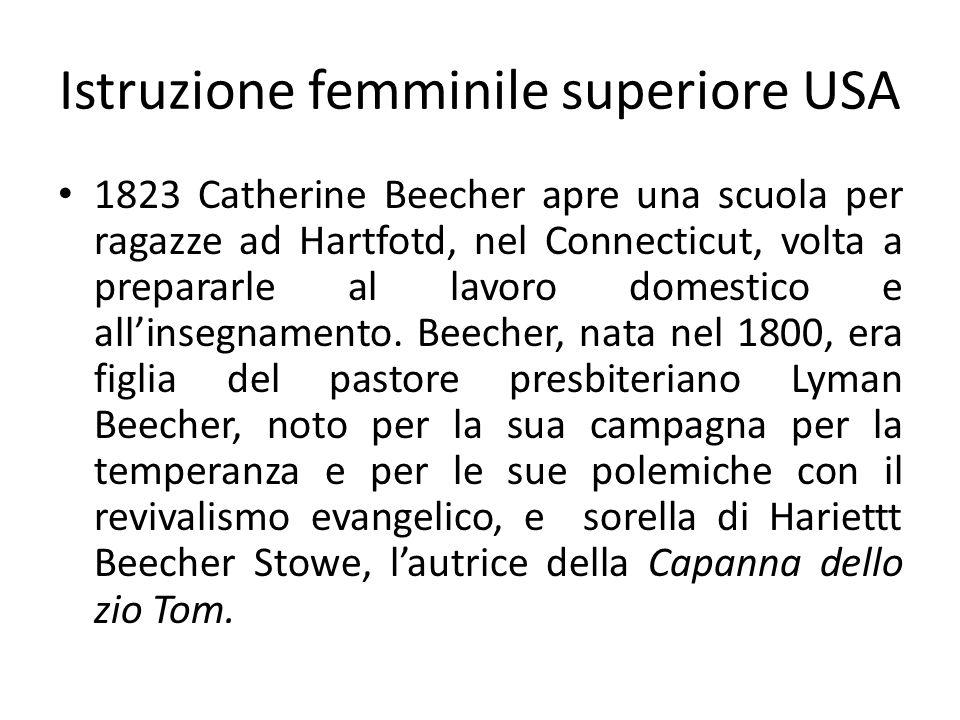 Istruzione femminile superiore USA 1823 Catherine Beecher apre una scuola per ragazze ad Hartfotd, nel Connecticut, volta a prepararle al lavoro domes