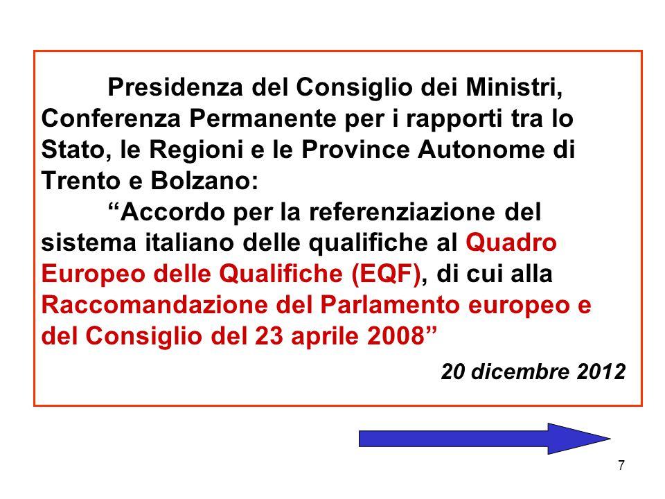 """7 Presidenza del Consiglio dei Ministri, Conferenza Permanente per i rapporti tra lo Stato, le Regioni e le Province Autonome di Trento e Bolzano: """"Ac"""