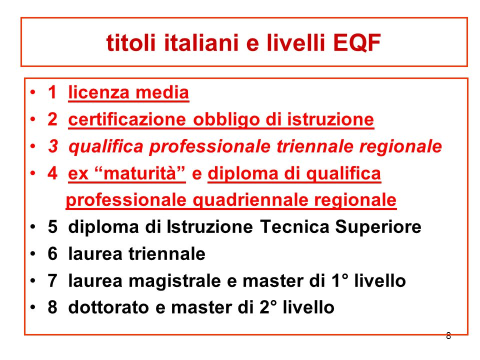 """8 titoli italiani e livelli EQF 1 licenza media 2 certificazione obbligo di istruzione 3 qualifica professionale triennale regionale 4 ex """"maturità"""" e"""