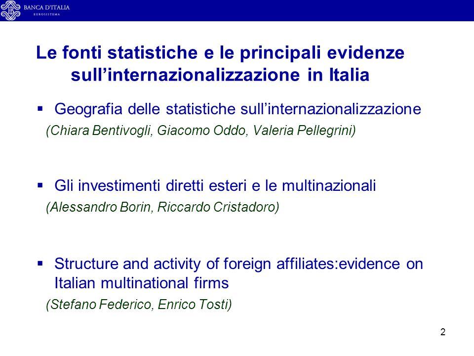 13  Internazionalizzazione: caratteristiche e fonti  L'Italia nel confronto internazionale  Le multinazionali italiane  Conclusioni Outline della presentazione