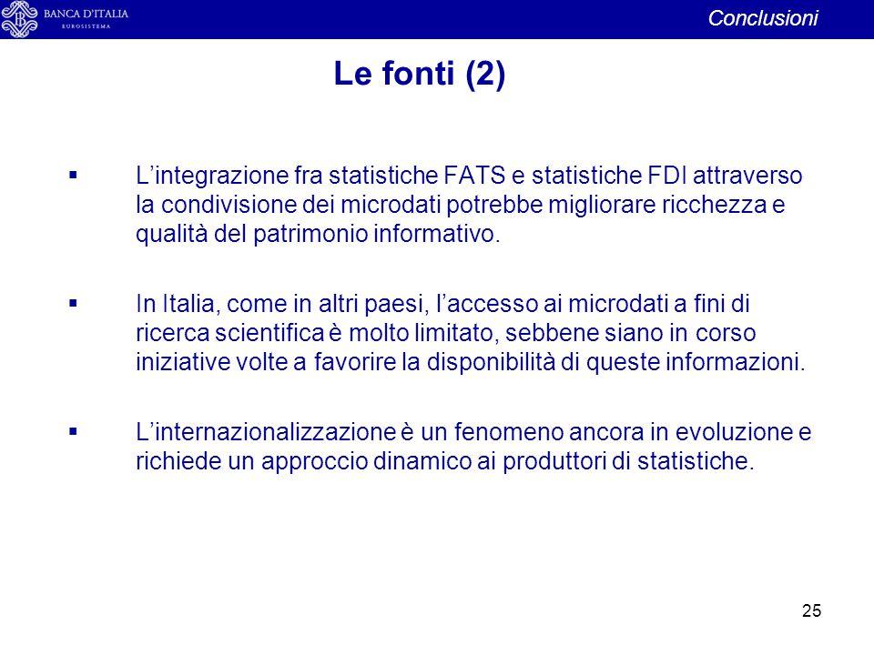 25  L'integrazione fra statistiche FATS e statistiche FDI attraverso la condivisione dei microdati potrebbe migliorare ricchezza e qualità del patrim
