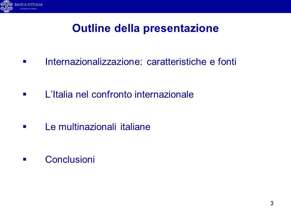 4  Internazionalizzazione: caratteristiche e fonti  L'Italia nel confronto internazionale  Le multinazionali italiane  Conclusioni Outline della presentazione