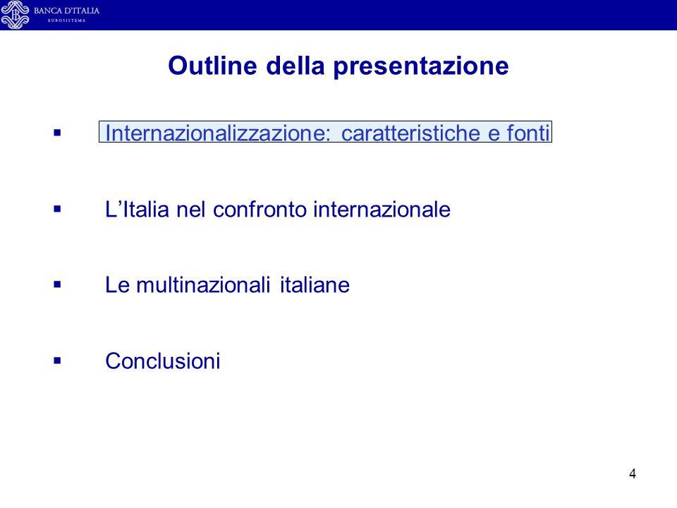 4  Internazionalizzazione: caratteristiche e fonti  L'Italia nel confronto internazionale  Le multinazionali italiane  Conclusioni Outline della p