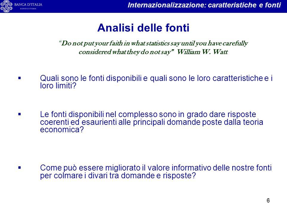7 Internazionalizzazione: caratteristiche e fonti DOMANDEFONTILIMITI Come si posiziona l'Italia rispetto agli altri paesi avanzati.