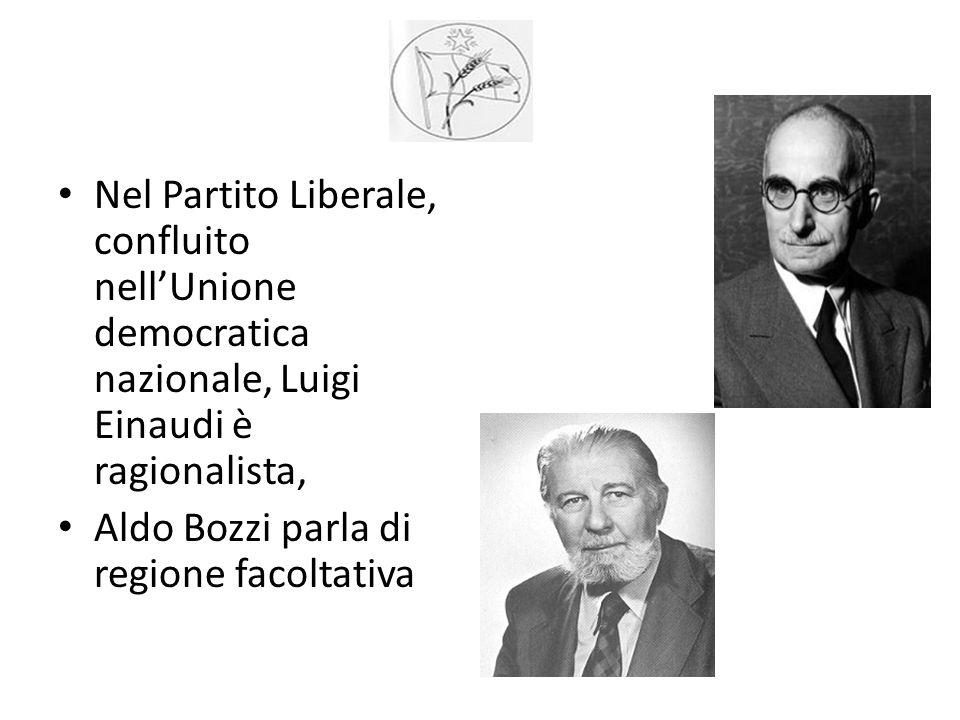 Nel Partito Liberale, confluito nell'Unione democratica nazionale, Luigi Einaudi è ragionalista, Aldo Bozzi parla di regione facoltativa
